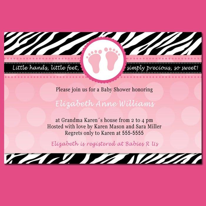 pink zebra invitation template